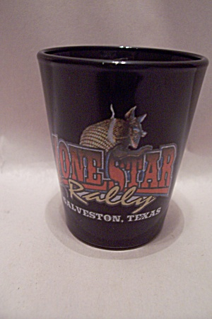 Lone Star Rally Souvenir Black Glass Toothpick Holder