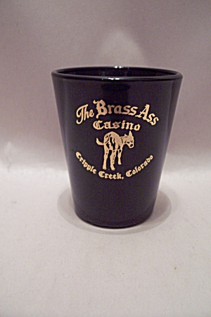 The Brass Ass Black Glass Souvenir Toothpick Holder