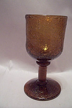 Handblown Amber Art Glass Pedestal Toothpick Holder