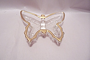 Gilt Trimmed Crystal Art Glass Butterfly Dish