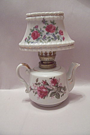 Miniature Teapot Shaped Porcelain Oil Lamp