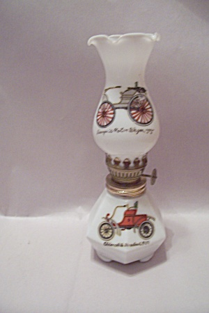 Old Car Decorated Miniature Glass Oil Lamp