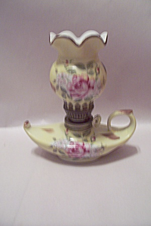 Aladdin's Style Miniature Rose Decorated Oil Lamp