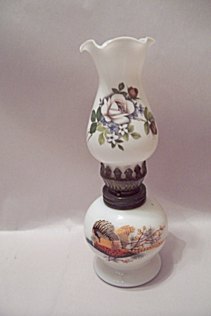 Ringneck Pheasant Glass Miniature Oil Lamp