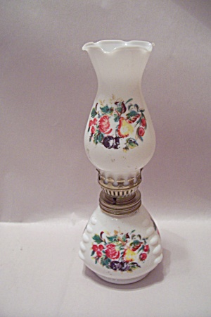 Hand Painted Fruit Decorated Miniature Glass Oil Lamp