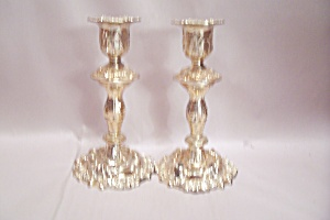 Pair Of Gold Plated Metal Candle Holders