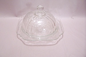 Crystal Depression Glass Cheese Dish With Lid
