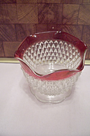 Diamond Point Ruby Flashed Crystal Footed Sugar Bowl