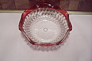 Diamond Point Ruby Flashed Crystal Glass Ash Tray