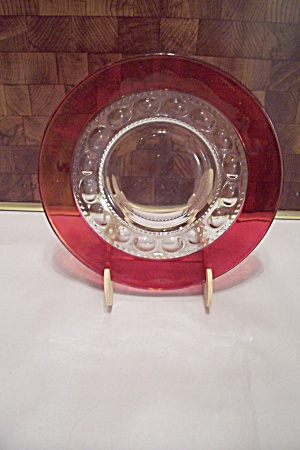 King's Crown Thumbprint Pattern Ruby Flashed Plate