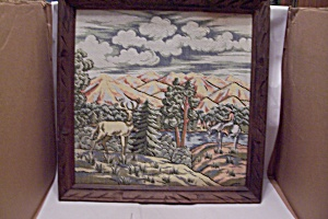 Framed Native American & Deer Needlepoint