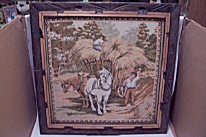 Framed Vintage Rural Farm Scene Needlepoint