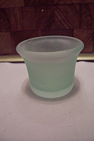Greenish-blue Satin Glass Toothpick Holder