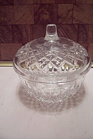 Crystal Glass Diamond Pattern Sugar Bowl With Lid
