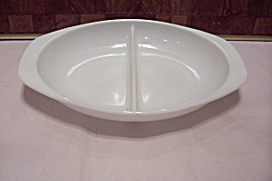 Pyrex Milk Glass Divided Oval Bowl