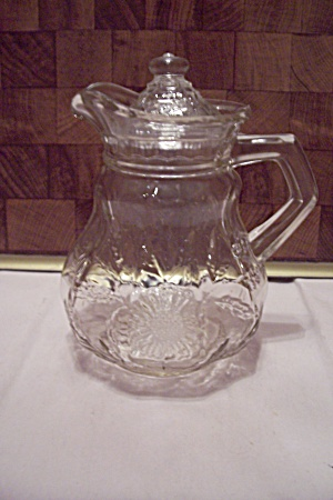 Crystal Glass Sunflower Pattern Syrup Pitcher With Lid