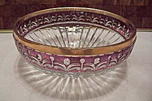 Annahome Crystal & Ruby Pattern Glass Fruit Bowl