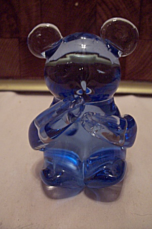 Fenton Blue Hand Blown Art Glass Bear Paperweight