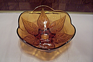 Amber Glass Leaf Pattern Footed Bowl