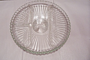 Crystal Pattern Glass Round Divided Dish