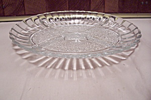 Oval Crystal Pattern Glass Divided Dish