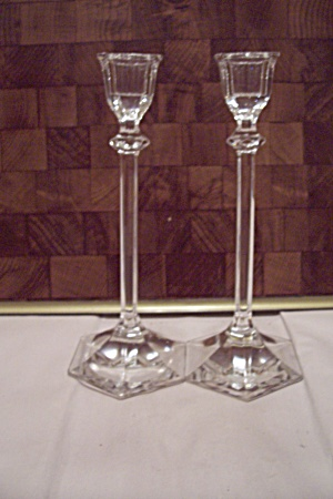 Pair Of Brilliant Crystal Glass Candle Holders