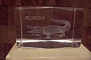 Florida Souvenir Crystal Glass Alligator Paperweight
