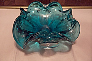 Murano Cased Blue Glass/controlled Bubbles Folded Bowl
