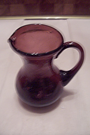 Amethyst/amber Crackle Art Glass Small Pitcher