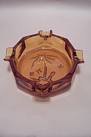 Amber Glass Palm Tree Decorated 8-sided Ash Tray
