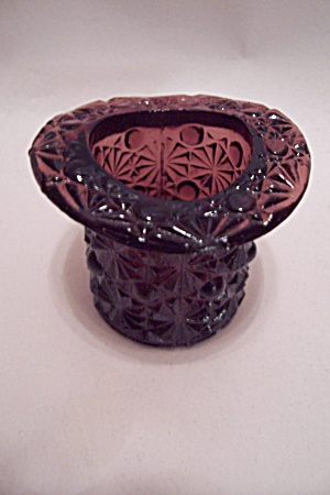 Amber Daisy & Button Glass Hat Shaped Toothpick Holder