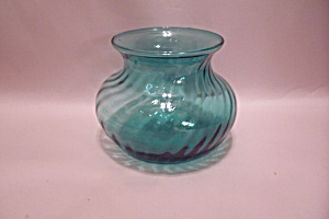 Indiana Aqua Art Glass Bulbous Vase