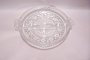 Crystal Pattern Glass Divided Dish With Tab Handles