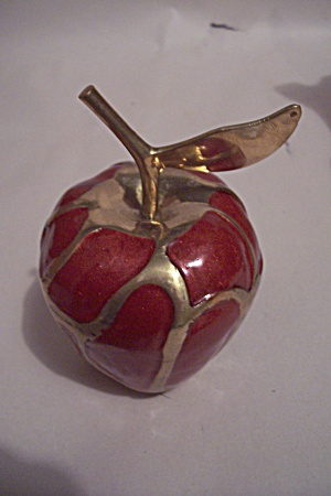 Brass & Red Enamel Apple Paperweight