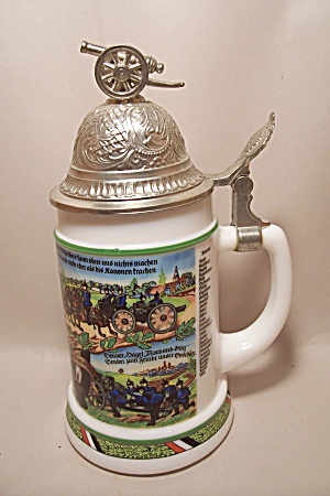 German Milk Glass Artillary Military Unit Beer Stein