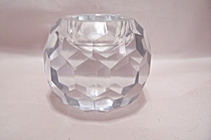 Brilliant Crystal Faceted Glass Round Candle Holder