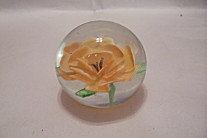 Yellow Flower Handmade Art Glass Paperweight