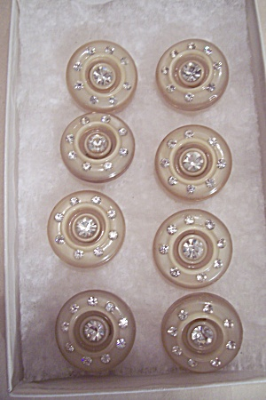 Set Of 8 Plastic & Rhinestone Buttons