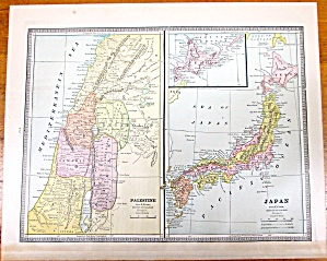 Antique Map Japan Palestine Holy Land Crams 1883