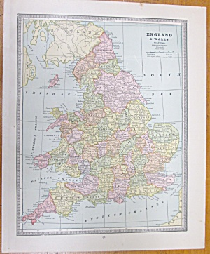 Antique Map England Scotland Crams 1883