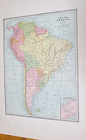 Map South America Large Fold Out Crams 1883 Mexico