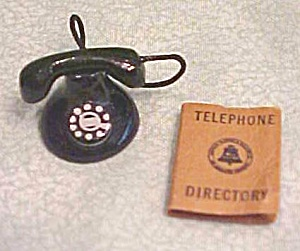 Dollhouse Telephone & Directory 1940-60's Black Dial