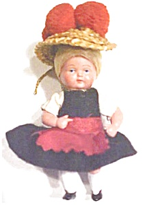 Miniature Celluloid Dolls 2pc Ethnic Dressed