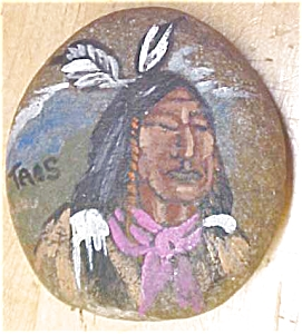 Native American Hand Painted Stone Signed