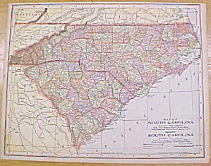Antique Map North & South Carolina Georgia 1902
