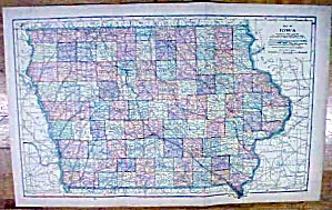 Antique Map Iowa/nebraska 1902 Large Crowell