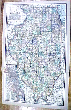Antique Map Illinois/wisconsin 1902 Large Crowell