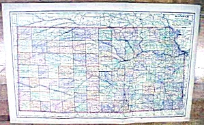 Antique Map Kansas/texas/oklahoma 1902 Large Crowell