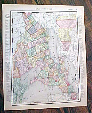 Antique Map Ontario & Quebec 1907 Rand Mcnally