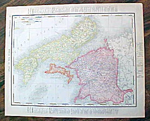 Antique Map Nova Scotia & Manitoba 1907 Rand Mcnally